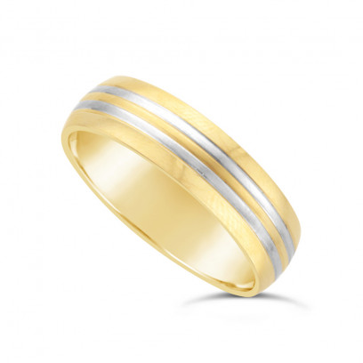 9ct Yellow Gold 6mm Court Shape Wedding Ring With 2 x 9ct White Gold 1mm Onlays All With A Matt Finish